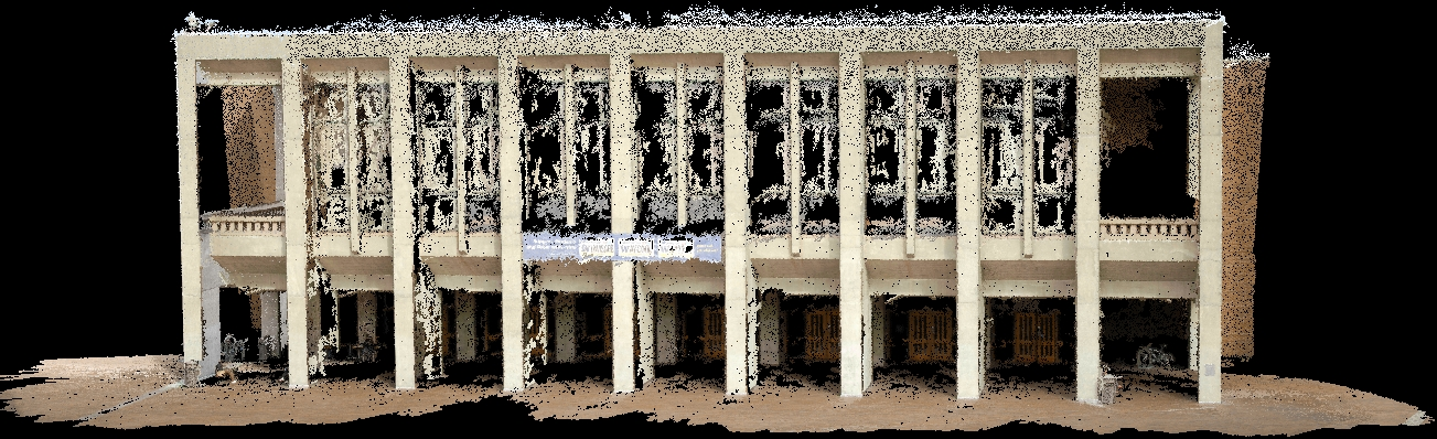 Image of fully reconstructed dense point cloud of building