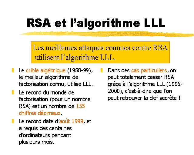RSA et l'algorithme LLL